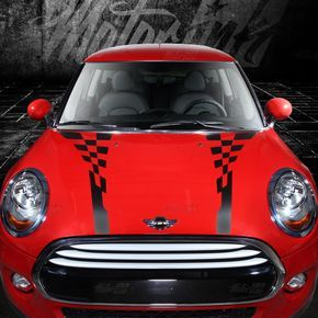 2014 2015 Mini Cooper Checkered Hood And Boot Rally Racing Stripes