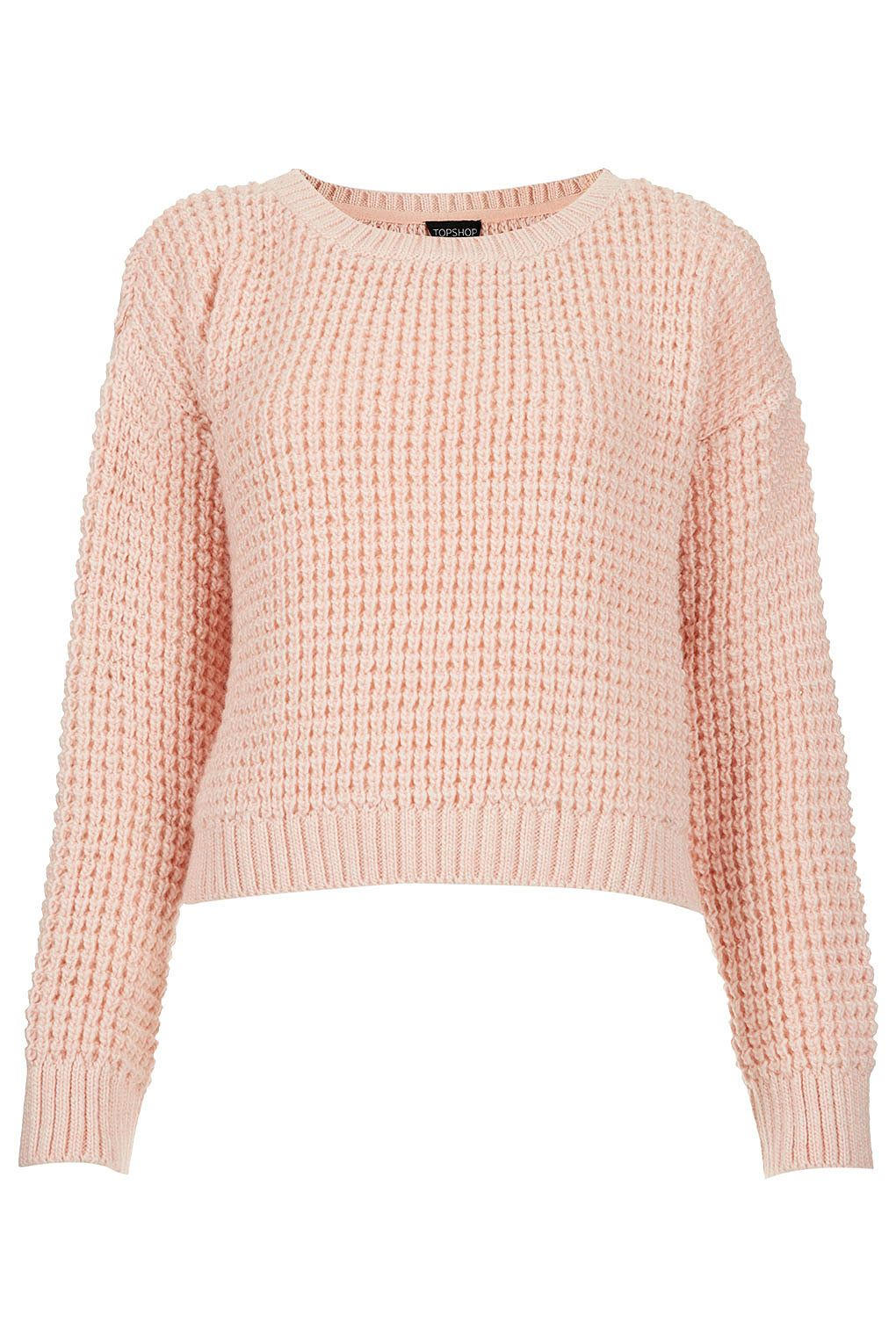 Pink Waffle-knit sweater by Topshop. | Valentine's Day | Pinterest ...