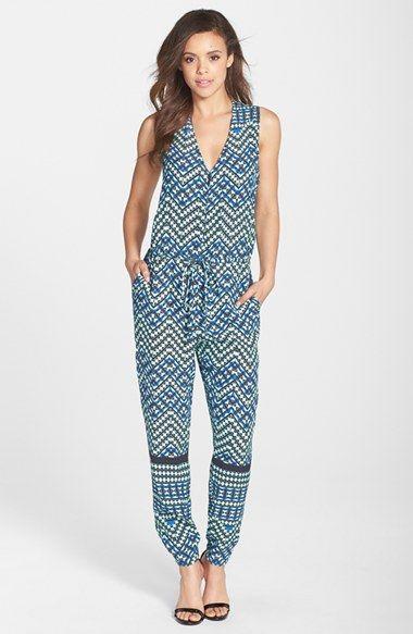 Charlie Jade Print V-Neck Crepe Jumpsuit#Nordstrom