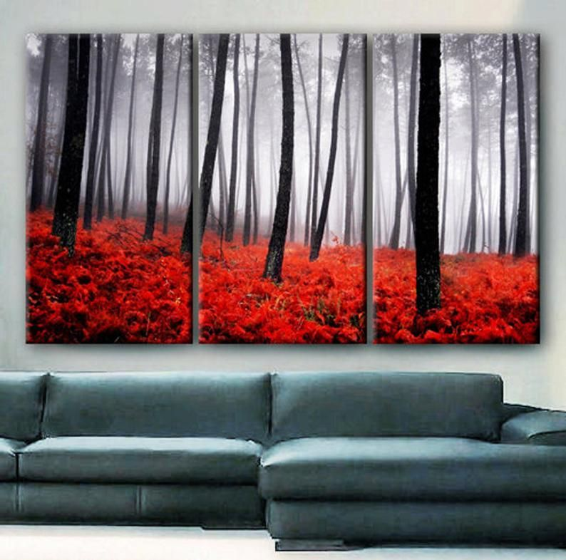 Huge 3 Panels Framed 1 5 Depth Art Canvas Print Beautiful Trees Forest Foggy Autumn Red Ferns Nature Wall Home Office Decor Interior In 2020 Nature Art Prints Canvas Art Prints Red Paintings Canvas #red #paintings #for #living #room