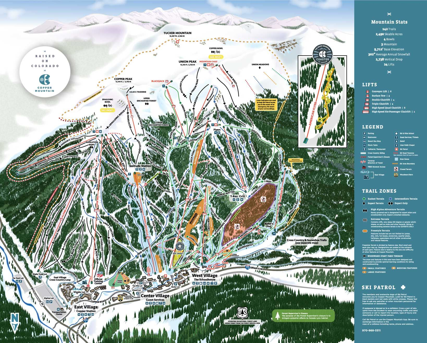Copper Mountain Trail Map in 2019   Trail maps, Mountain ...