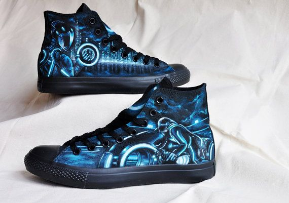 82889fc2b585 Custom Hand Painted Shoes Tron by BitsofRouge on Etsy