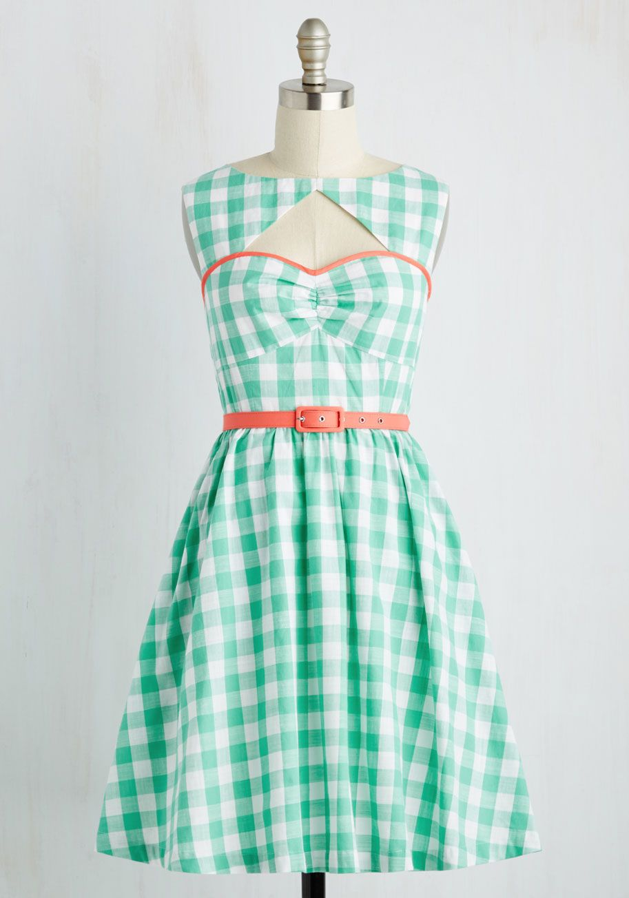 Cookout on the Town Dress by ModCloth - Green, White, Checkered ...