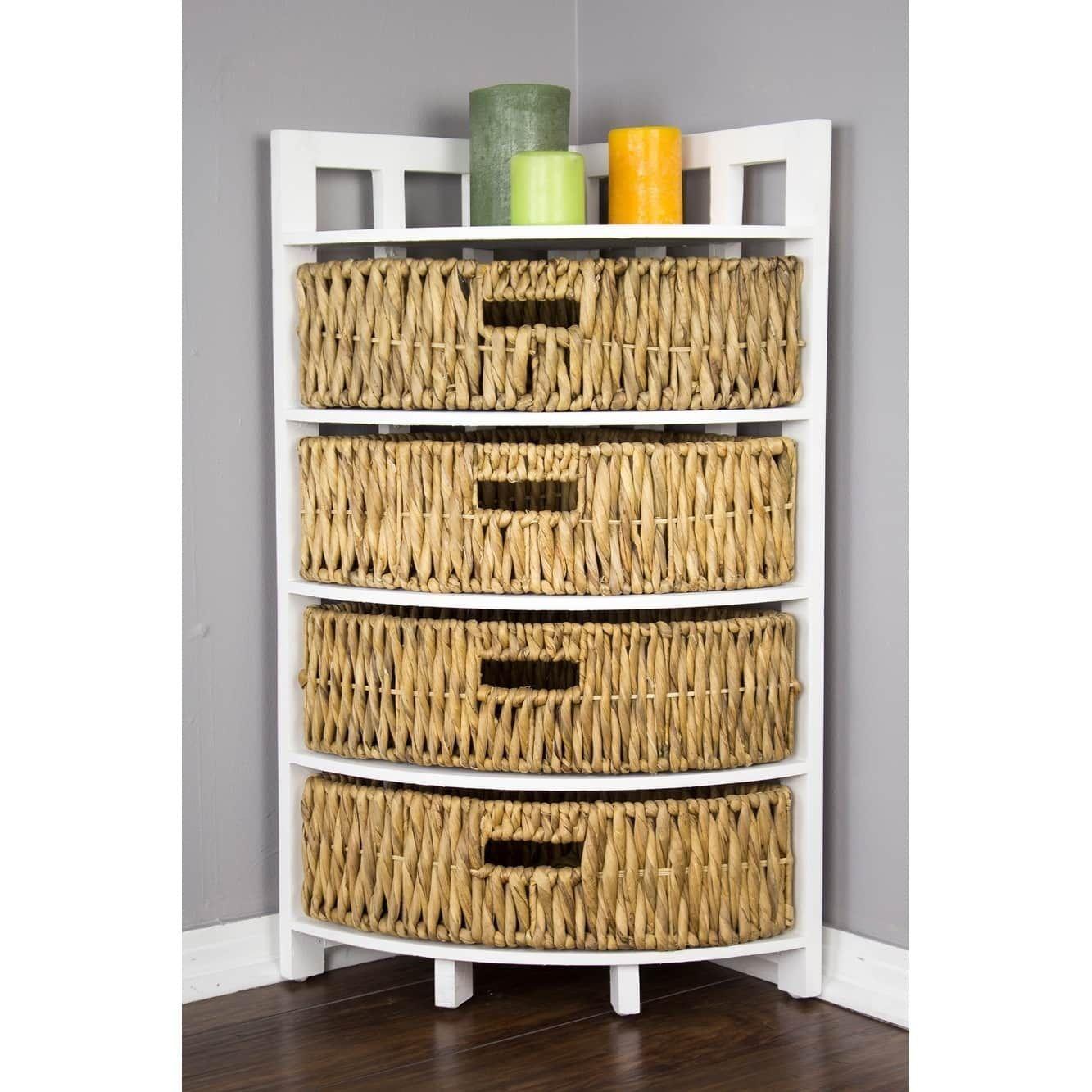 Vale Corner Cabinet With 4 Hyacinth Storage Baskets Beige