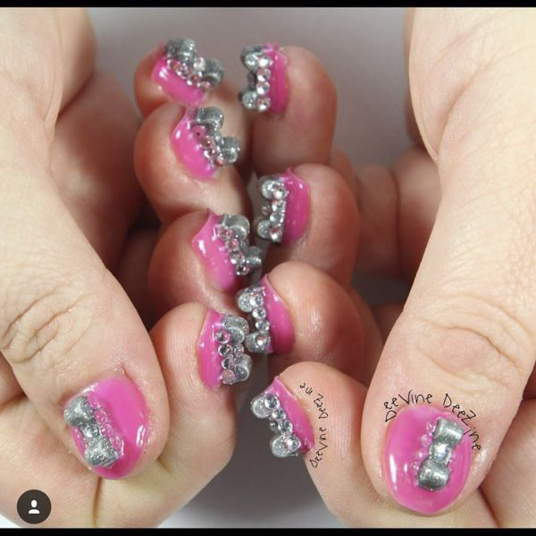 Silver And Pink Using Gumdrop By Dimension Nails 3d Nail Art