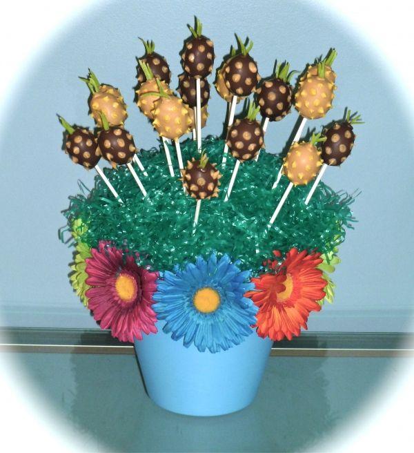 Pineapple Cake Pop Bouquet #cakepopbouquet