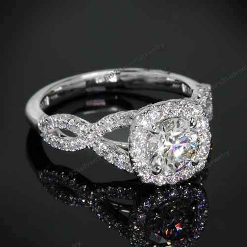 10K White Gold 925 Silver Clear Diamond Infinity Engagement Ring For Womens