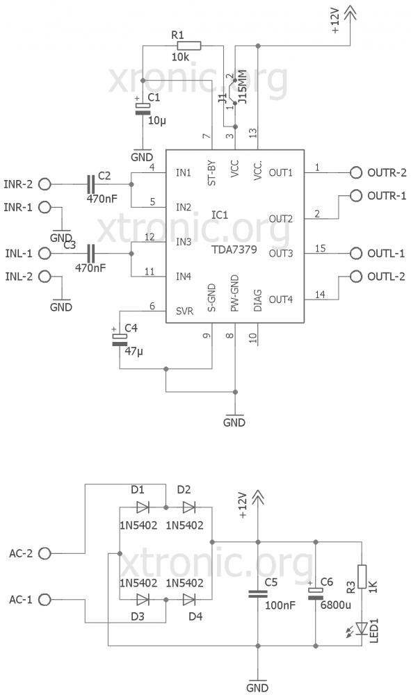 Circuit stereo power amplifier IC TDA7379 38W - Xtronic
