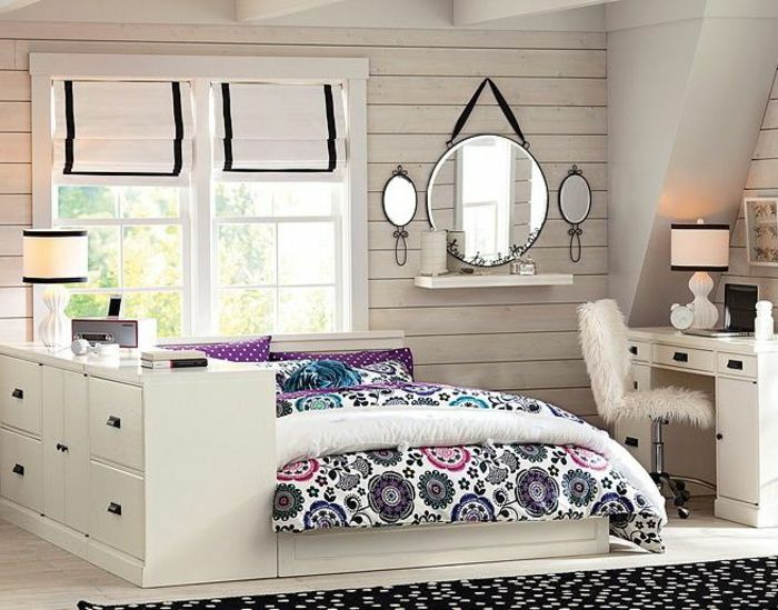 la chambre ado fille 75 id es de d coration roses chambre ado chambre et. Black Bedroom Furniture Sets. Home Design Ideas
