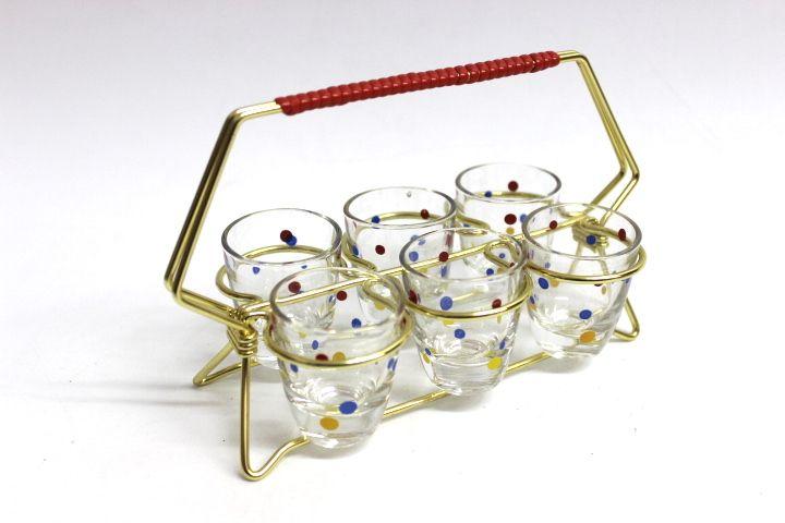 6er Schnapsglashalterung aus Aluminium Schnapsgläser mit roten, gelben und blauen Punkten Sehr guter gebrauchter Zustand Abmessung ca. Glas H=5 cm D=4 cm Halterung H=11 cm L=18,5 cm B=9 cm