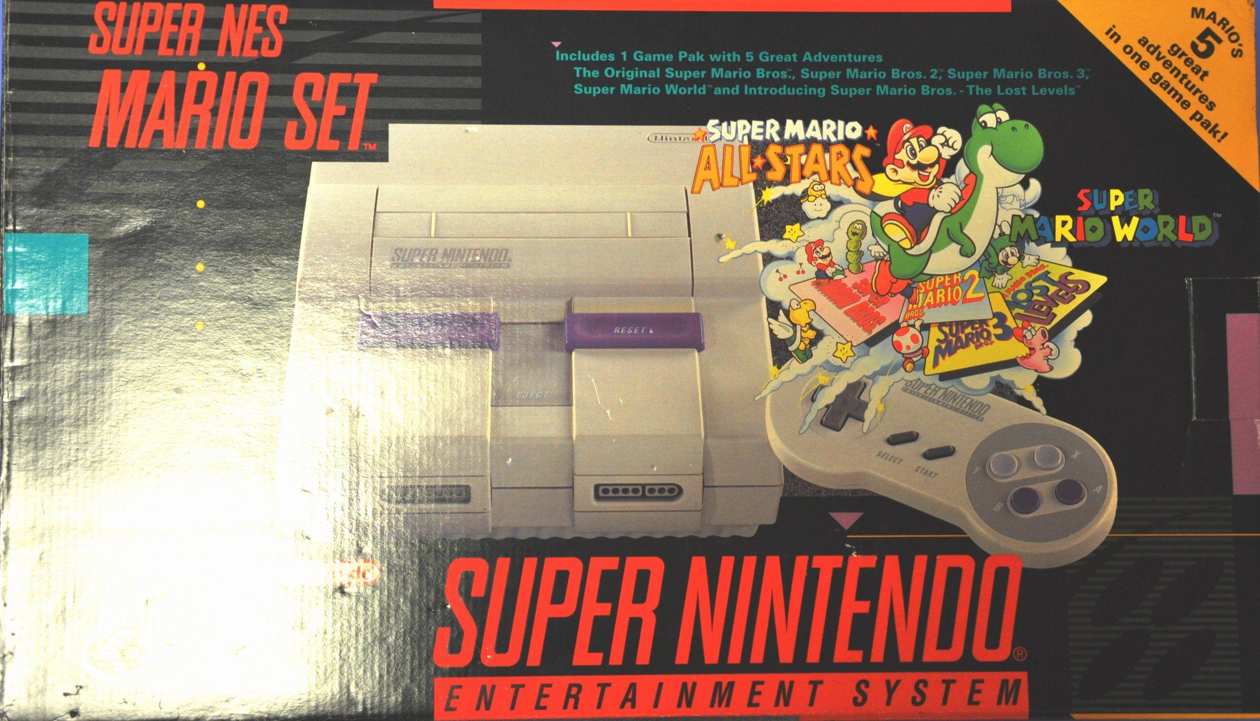 Amazon Com Super Nintendo Mario Set Snes System Plus 5 Games On 1 Cartridge Super Mario All Stars Wit Super Mario All Stars Super Nintendo Nintendo Systems