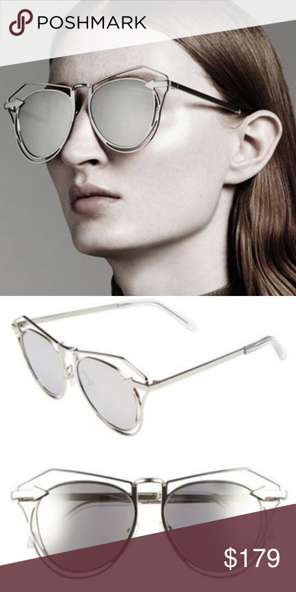 f8319d08ed6 KAREN WALKER MARGUERITE SUNGLASSES SILVER MIRRORED KAREN WALKER MARGUERITE  SUNGLASSES SILVER WITH MIRRORED LENSES NEW  320