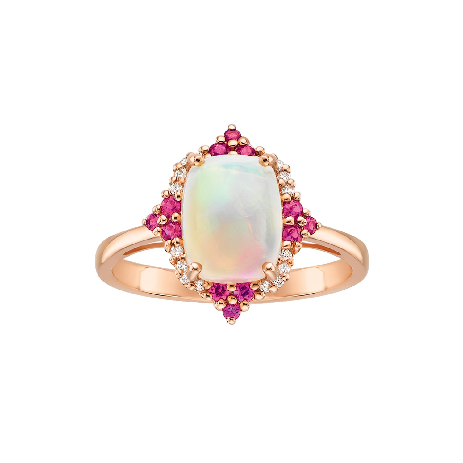 c0773f68eae3f Ethiopian Opal Ruby and Diamond Accented Ring in 10K Rose Gold in ...
