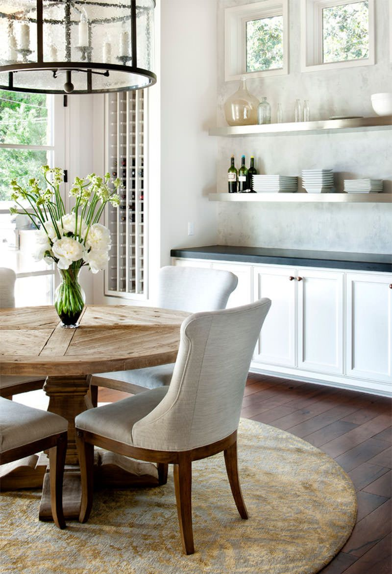 Dining Room, : Classic Modern Kitchen Dining Table Design With Round Wooden Dining  Table Plus White Chairs And Combine With White Kitchen Cabinet And Wall ...