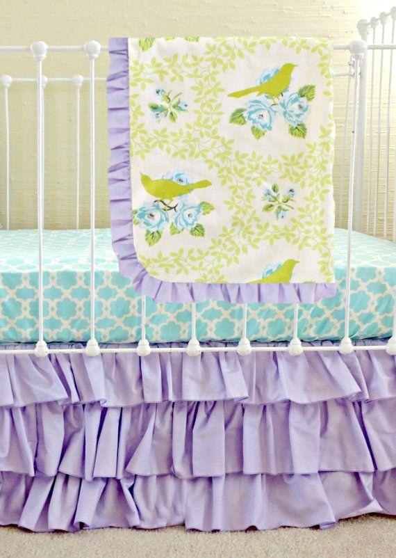 Lavender Mockingbird Custom Baby Bedding Set Aqua By Lottiedababy