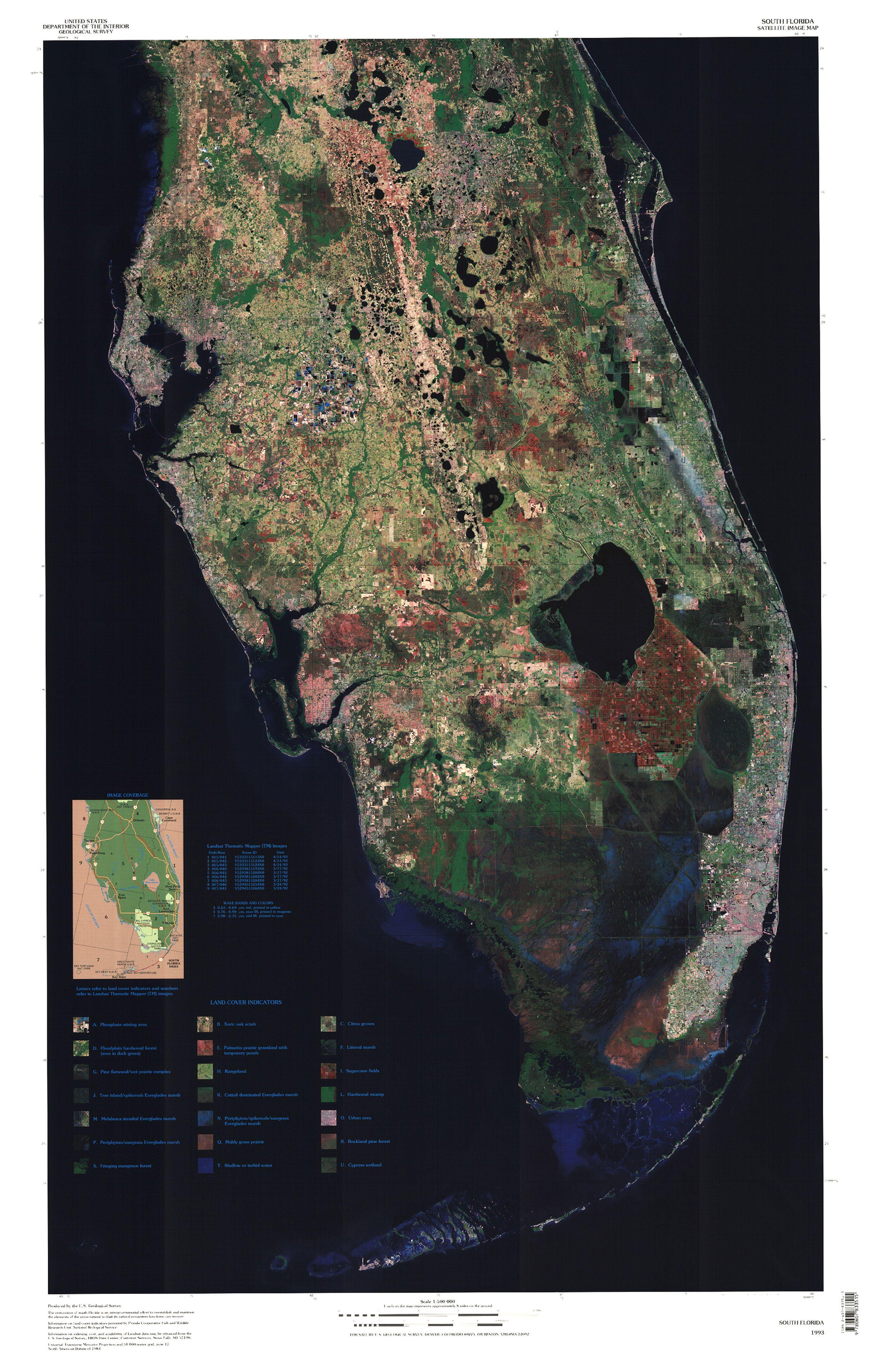 Map Of Florida Everglades.South Florida Satellite Image Map Maps Florida Everglades