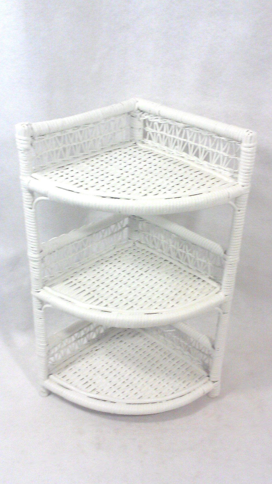 White Wicker Corner Cabinet