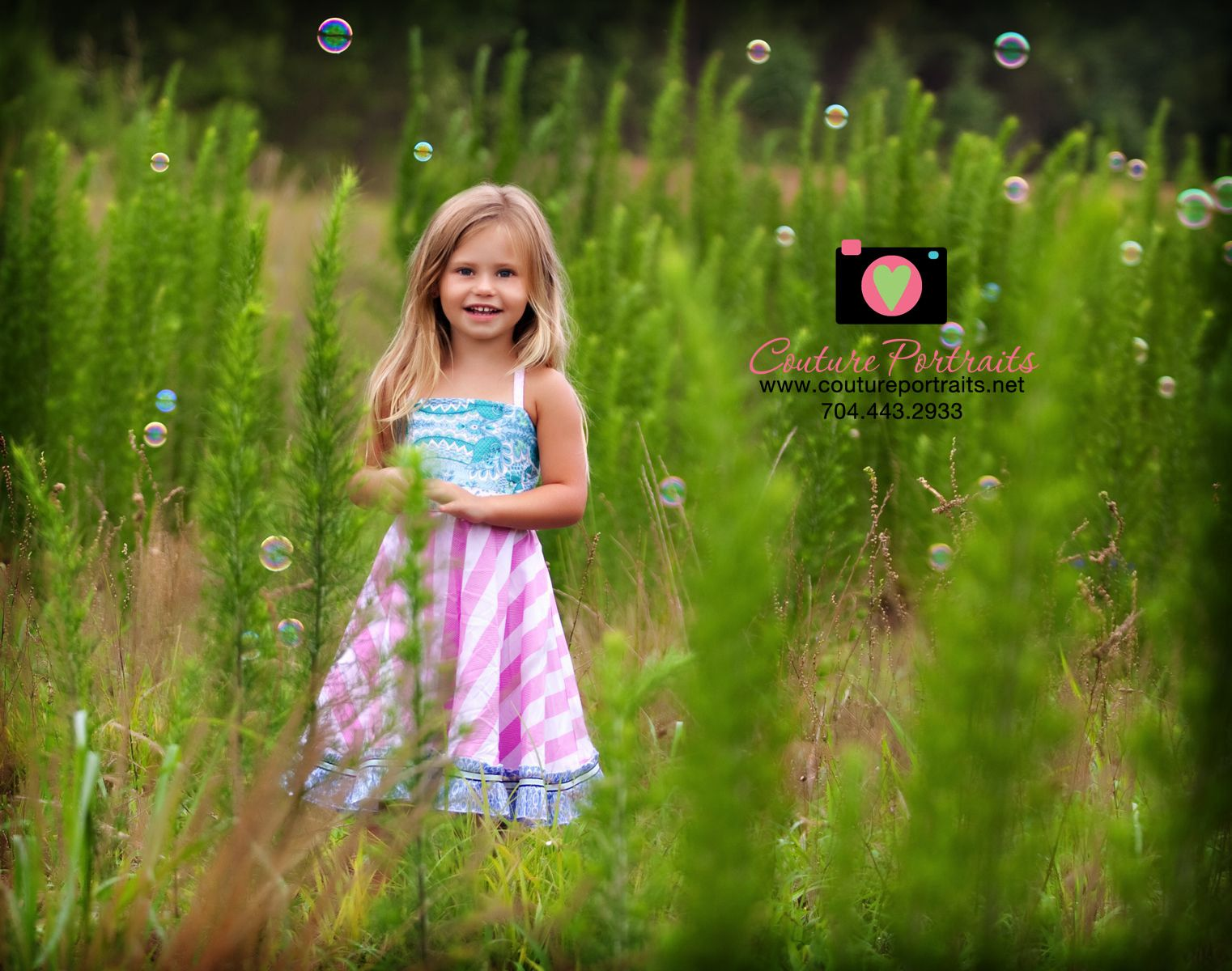 Love the bubbles against the green!! What a fun addition to this little girl's shoot