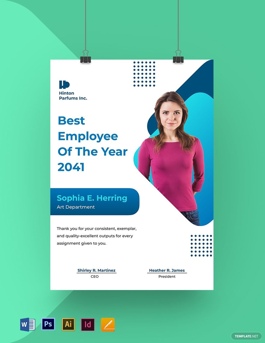 Best Employee Of The Year Poster Template Free Pdf Word Doc Indesign Apple Mac Pages Google Docs Illustrator Poster Template Poster Template Design Good Employee