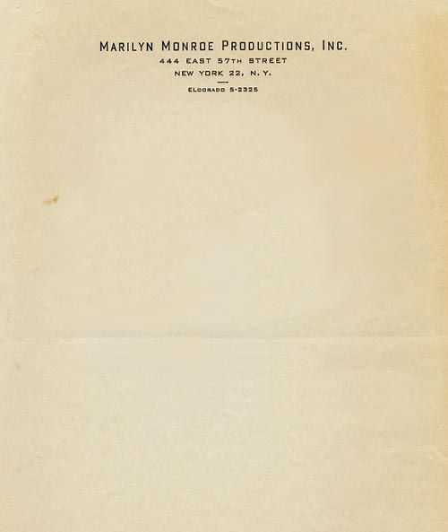 Marilyn Monroe Productions   Source Letterhead Used By