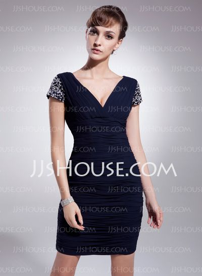 Cocktail Dresses - $125.99 - Sheath V-neck Short/Mini Chiffon Cocktail Dress With Ruffle Beading Sequins (016021216) http://jjshouse.com/Sheath-V-Neck-Short-Mini-Chiffon-Cocktail-Dress-With-Ruffle-Beading-Sequins-016021216-g21216
