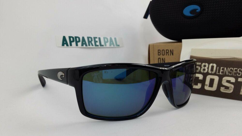 a4772b8ba9 New Costa del Mar Mag Bay Polarized Sunglasses Black Blue Mirror 580G Glass  Fish