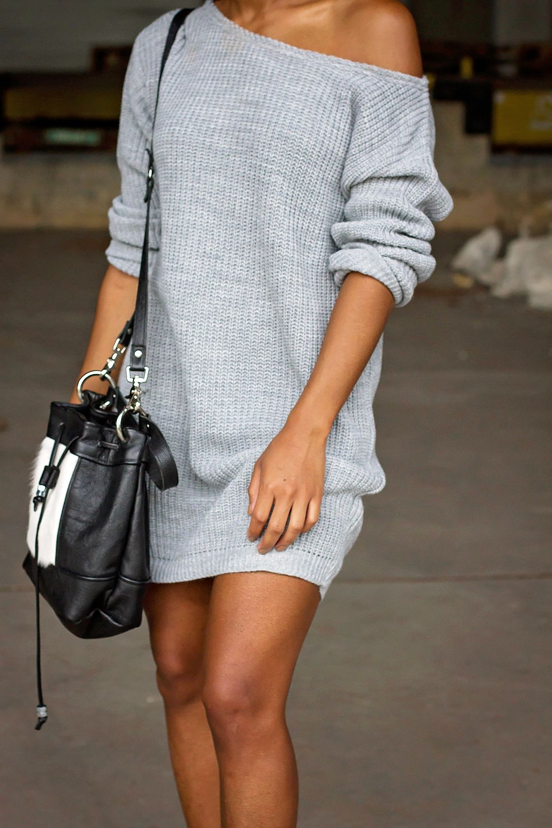 Sluchy Sweater with Boots a Dress