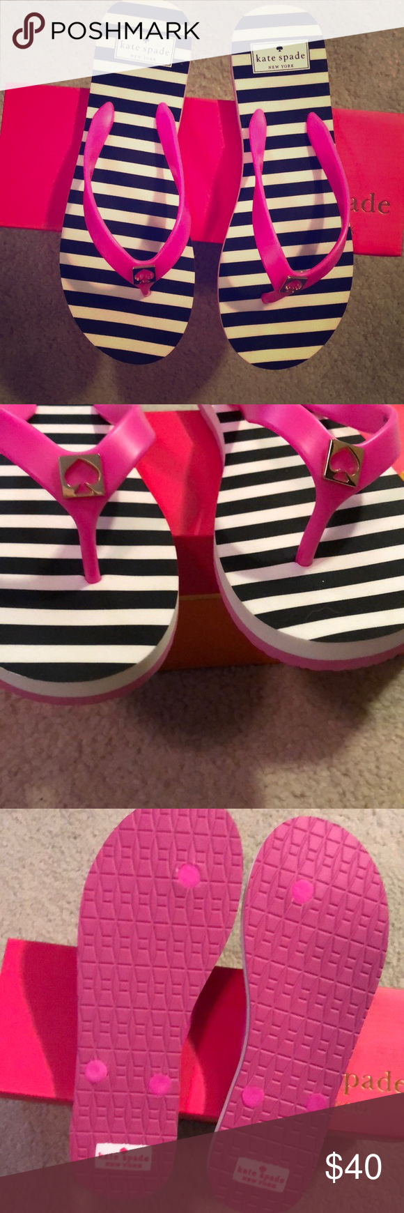dc0a0fdb2 NIB Kate Spade Pink Black White Stripe Flip Flop 8 New flip flops by Kate  Spade. Never worn. Purchased at Nordstrom. kate spade Shoes Sandals
