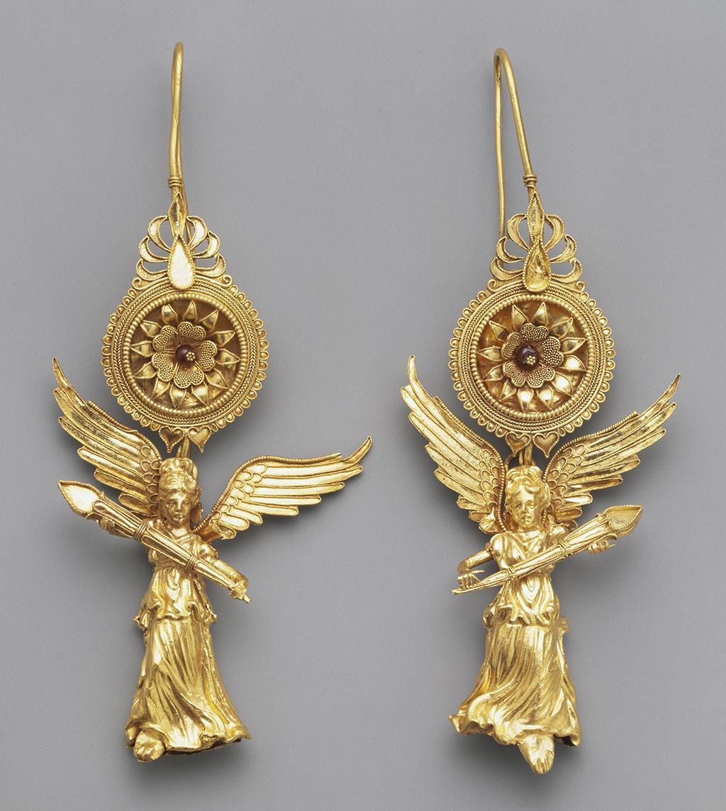 Earrings with Nike, Greek, about 225-175 BC, gold and ...