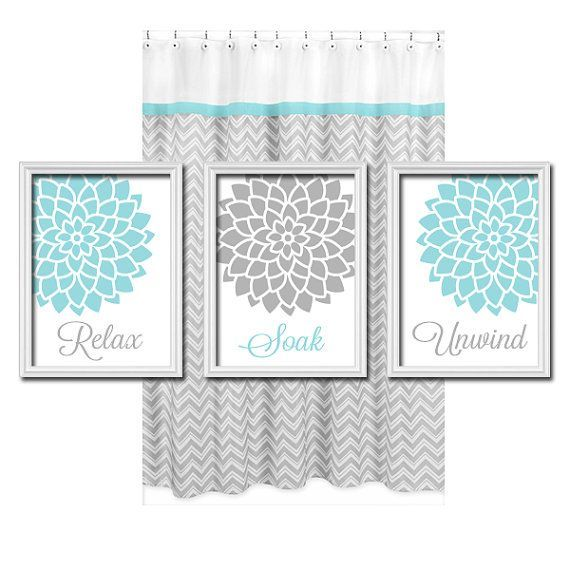 relax soak unwind grey gray teal blue flourish flower artwork set of 3 bathroom