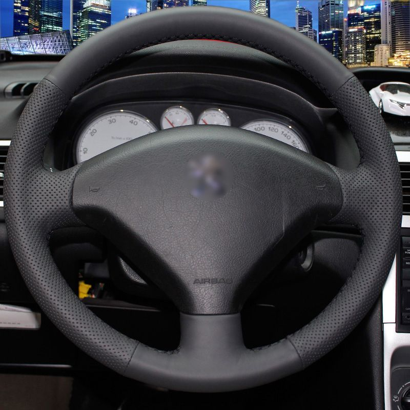 Hand-stitched Black Leather Steering Wheel Cover for Peugeot 307 Car ...