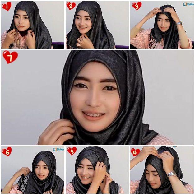 Tutorial Hijab Pashmina Kashmir Wajah Bulat/Wide Shawl ...