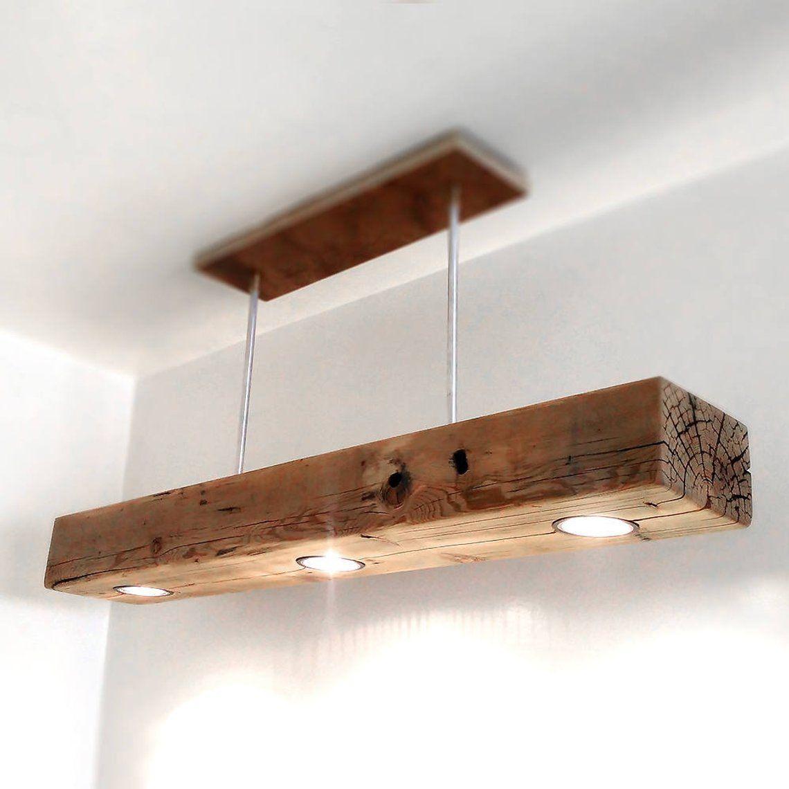 Reclaimed Wood Beam Spot Led Pendant Light Fixture With
