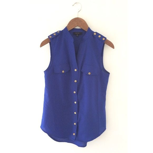 MINE Sleeveless Blouse with Gold Buttons MINE Sleeveless blouse with Gold Button Detail. Button up front closure. CONDITION: LIKE NEW/ NO VISIBLE SIGNS OF WEAR. MINE Tops Blouses