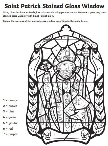 Saint Patrick S Day Art Activity Stained Glass Colour By Numbers