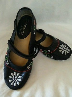 Coconuts by Matisse Woman's Size 6 M Black Mary Jane Shoes w/ Boho Design Gypsy
