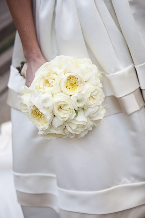 This Bridal Bouquet Consists Of Large White Polo Garden Roses Ranunculus And Creamy David