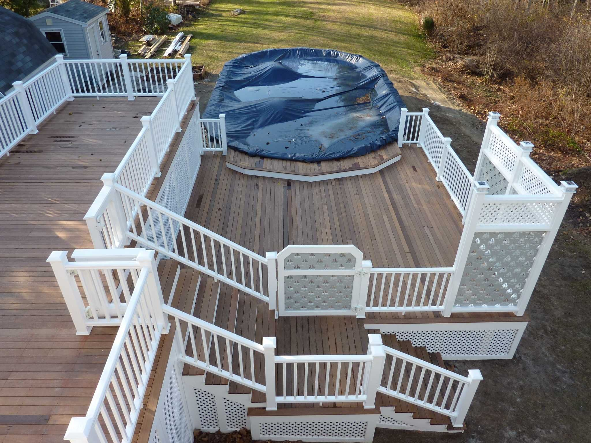 Multi level above ground pool deck ipe ironwood decking for Deck from house to above ground pool