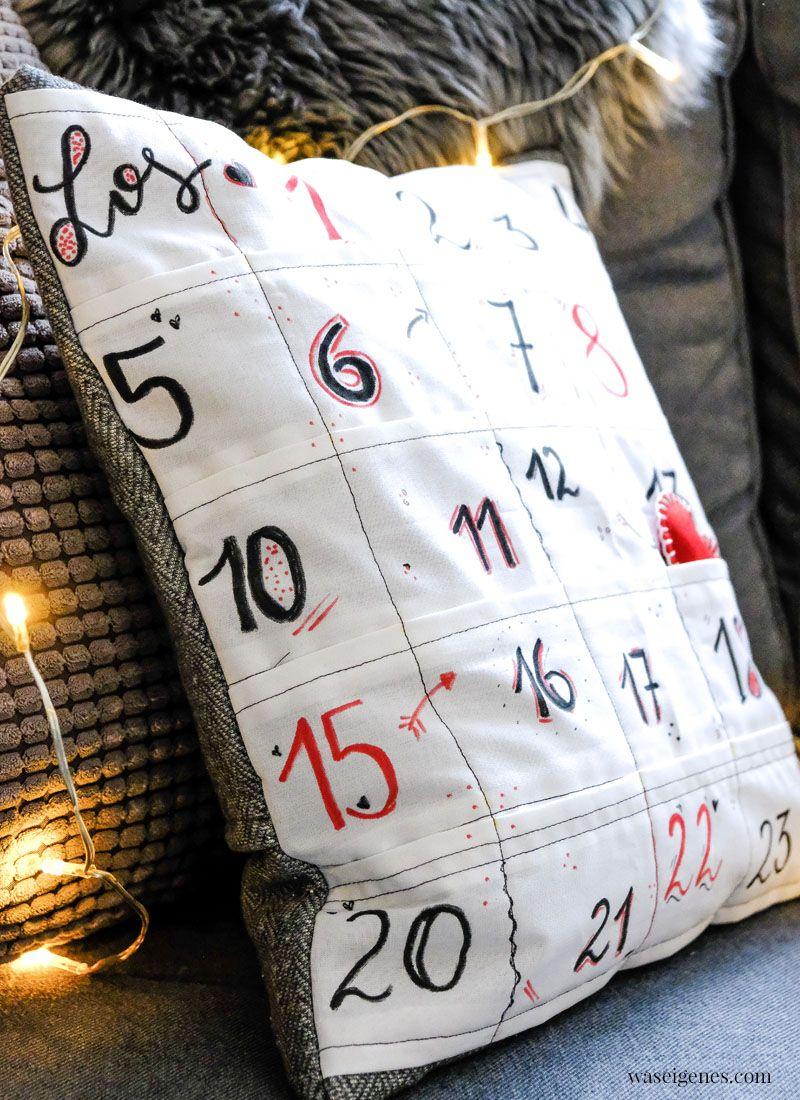 Diy Adventskalender Kissen Ein Kissenbezug Mit 24 Kleinen