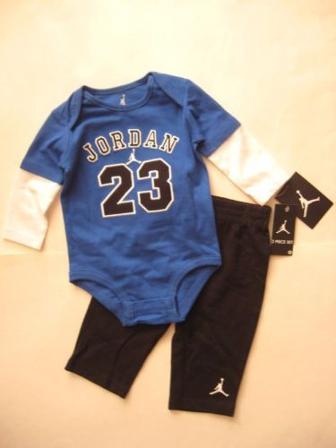 4e37a707e New-NIKE-2pc-Jordan-23-Infant-Baby-Boy-Blue-Long-Sleeve-Bodysuit-Pants-3 -6-6-9M