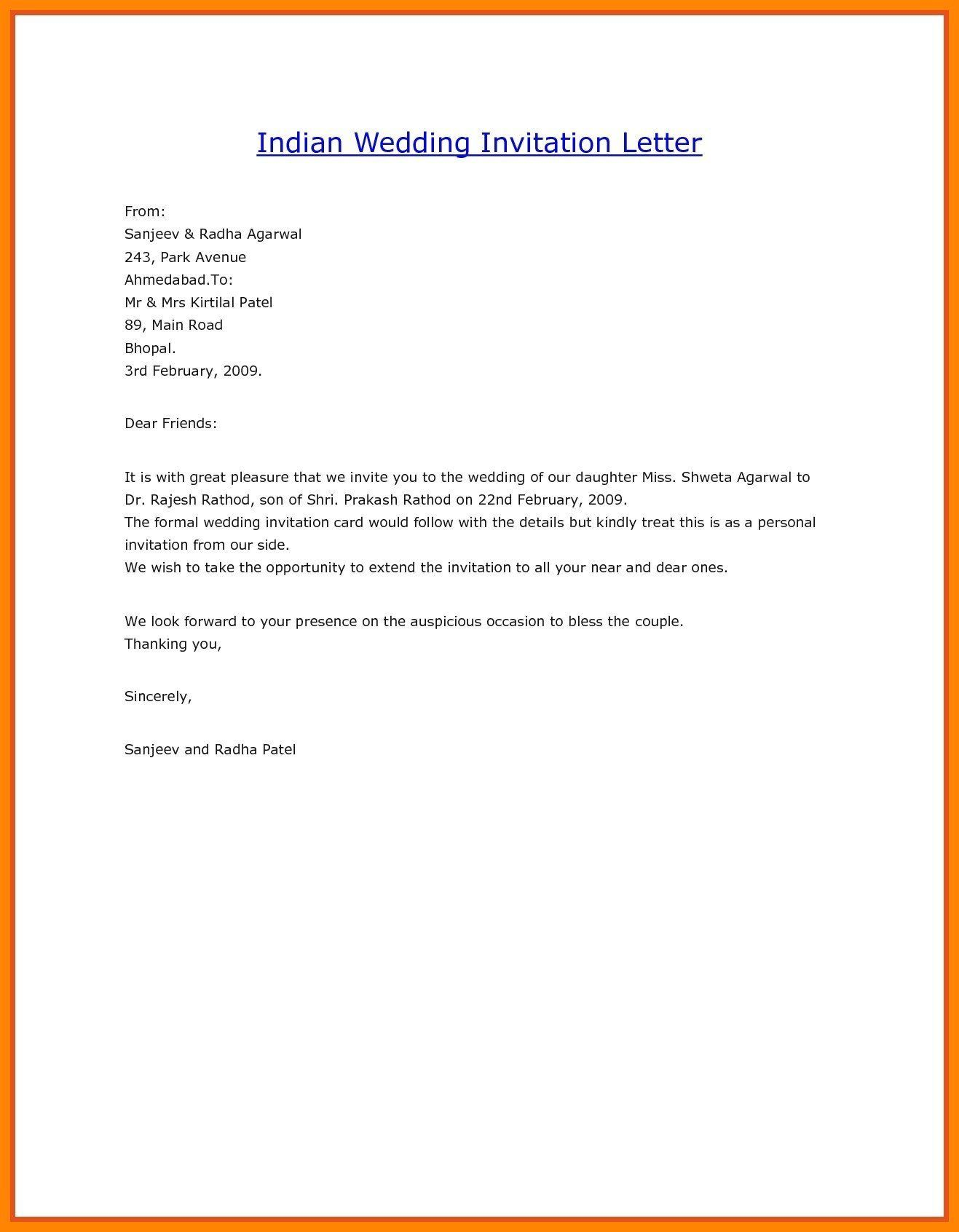 Indian Marriage Invitation Email Sample Check more at http
