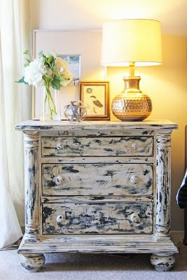 Painted Furniture, Distressed Nightstands In A Master Bedroom Makeover, Gold  Painted Lamps Theraggedwren.blogspot.com