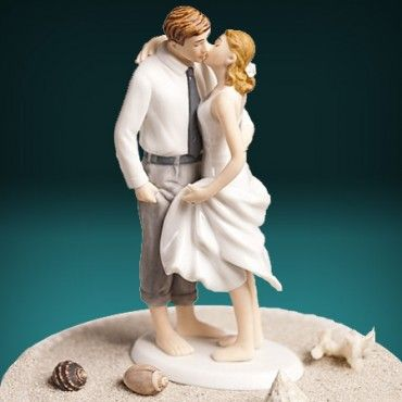 Barefoot In The Sand   Beach Theme Wedding Cake Topper