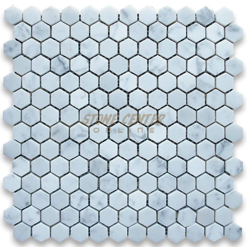 Hex 1025 1 Inch Hexagon Matte White Black Florette Pattern Mosaic Tile Mosaic Tiles Hexagon White And Black