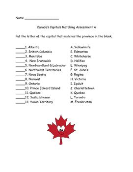 picture regarding Printable Citizenship Test Multiple Choice identified as Canada Capitals Matching Critiques Quiz (2 kinds