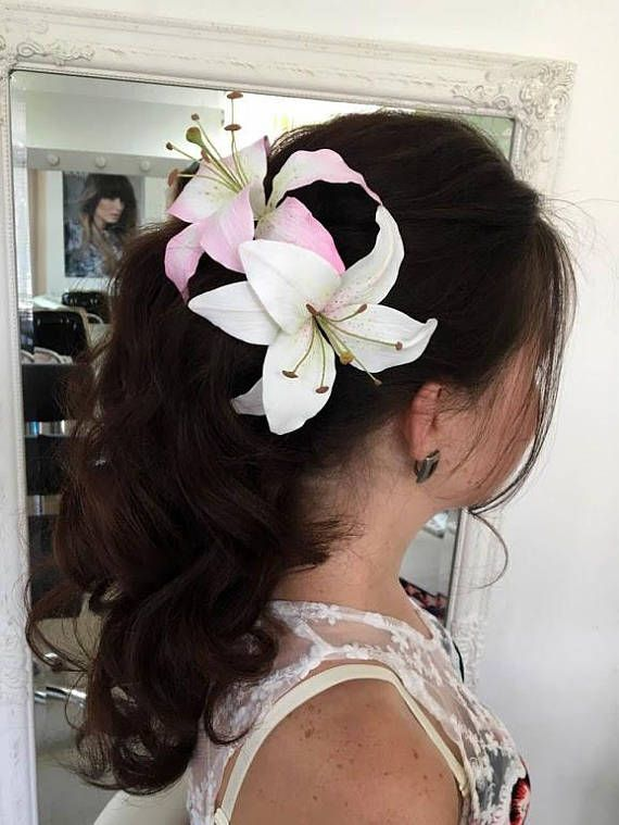 white lily hair pin - bride large