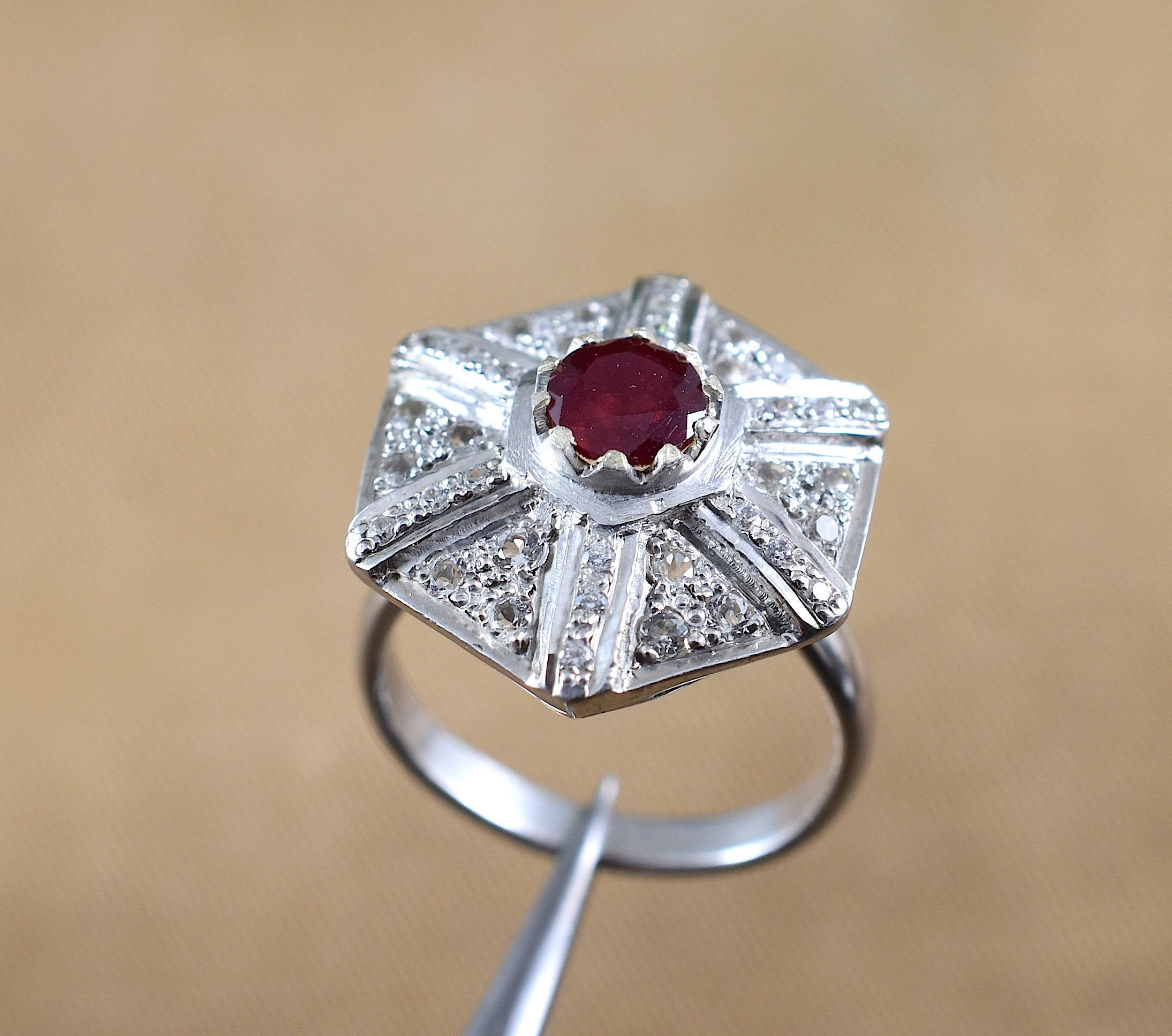Ruby Silver Ring RUBY RING Gemstone Ring Christmas Gift,Statement Ring Engagement Ring,Birthday Gift,Wedding Ring.Design N0- RRGF-017