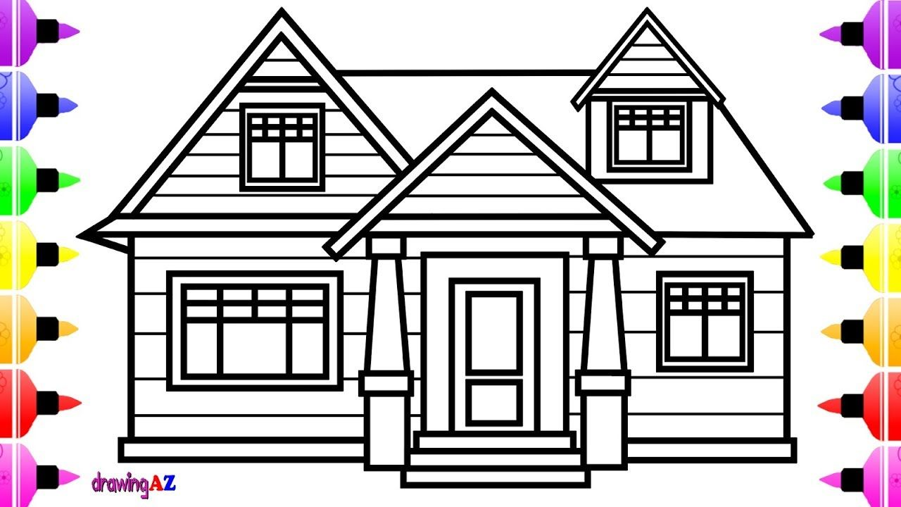How To Draw A House For Children Coloring Page For Kids Cute House Coloring Book Coloring Pages For Kids Unicorn Coloring Pages Coloring Books