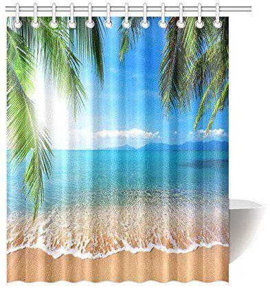 Interestprint Tropical Beach Palm Custom Shower Curtain 60 X 72