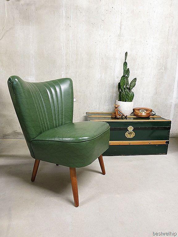 club fauteuil 'happy colors is part of Retro chair -  rode skai leren bekleding  Gezien de leeftijd nog …